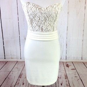 NWT Ivory Lace Strapless Sweetheart Dress